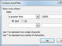 The Custom AutoFilter box in Excel.