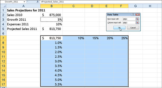 how to create a two variable data table in excel 2010 dummies