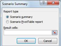 The Scenario Summary dialog box in Excel.