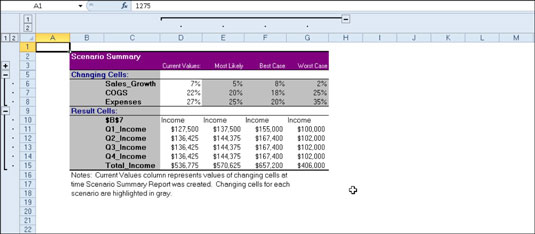 how to create a scenario summary report in excel 2010 dummies
