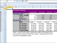 A scenario summary report generated by Excel.