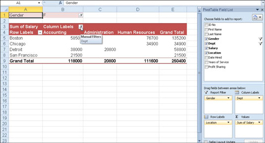 Pivot table after filtering two fields in the table.
