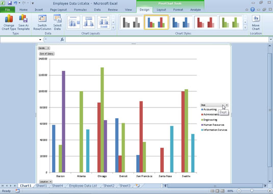 How to create and format a pivot chart in excel 2010 dummies a clustered column pivot chart moved to its own chart sheet ccuart Choice Image