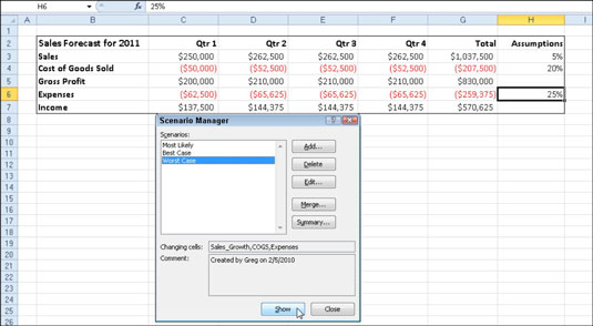 Use the Scenario Manager to add and switch to different scenarios in your worksheet.