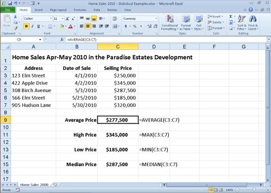 A home sales worksheet that uses common statistical functions.