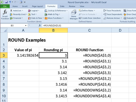 Rounding Numbers In Excel 2010 With Round Roundup And Rounddown