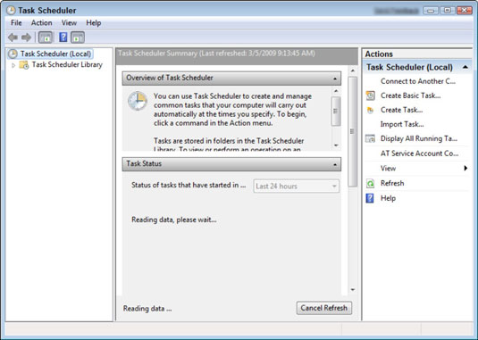 The Task Scheduler dialog box in the Windows Control Panel.