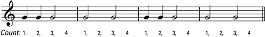 A hollow half note equals two filled in quarter notes.