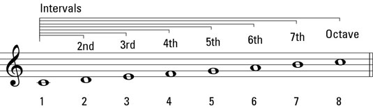 A family of intervals on the C major scale.