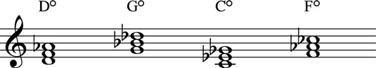 Diminished chords lower the fifth one half-step.