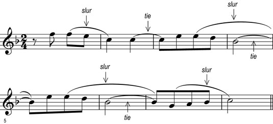 Notes grouped by a slur (played smoothly) and notes tied (held for the value of both notes).