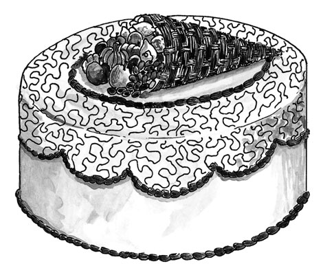 Make this striking cornucopia cake for your Thanksgiving table.