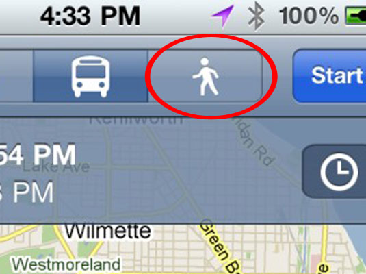 how to change iphone maps from walking to driving