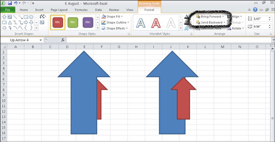 Rearranging the objects so the smaller red arrow is on top of the larger blue arrow.