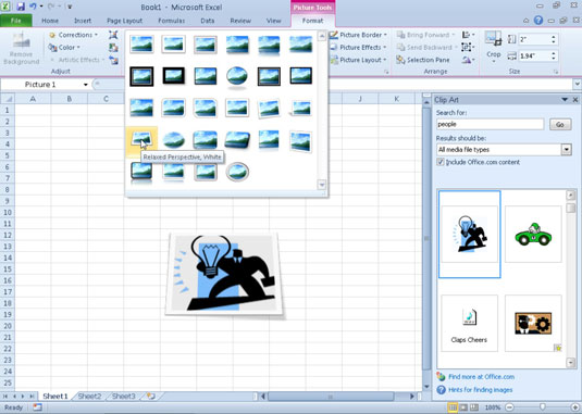Use Live Preview in the Picture Styles gallery to see how a style affects your picture before you a