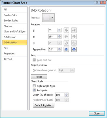 Use the 3-D Rotation settings to rotate a three-dimensional chart.