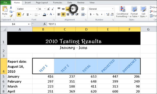 Rotate cell data to add a special effect (see row 4).