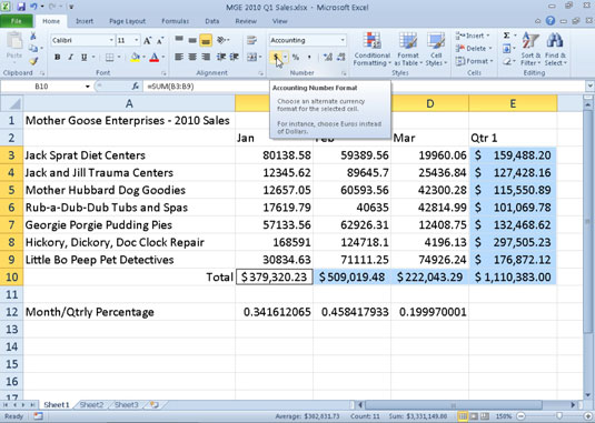 how to display numbers in excel 2010 as currency - dummies