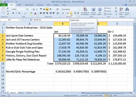 Working with the Comma Style in Excel 2010 - dummies