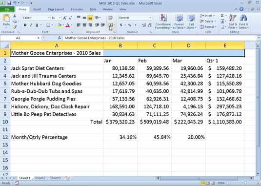 merging and splitting cells in excel 2010 dummies. Black Bedroom Furniture Sets. Home Design Ideas
