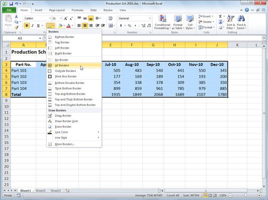 How to Add Cell Borders in Excel 2010 - dummies