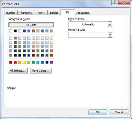 Select a new pattern for a cell selection on the Fill tab of the Format Cells dialog box.