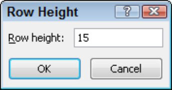 Use the Row Height dialog box to set a specific height.