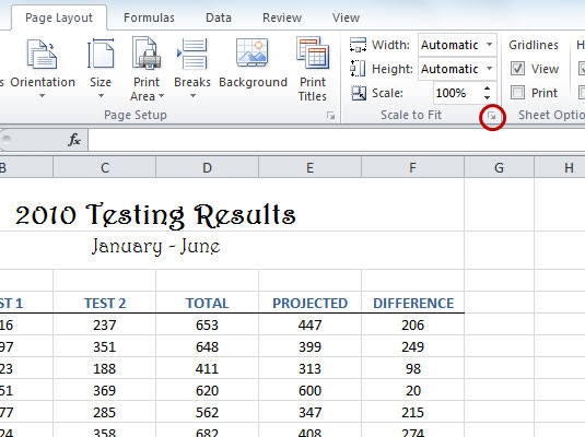 How to Use Excel 2010's Scale to Fit Printing Options - dummies
