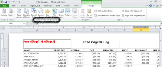With Excel 2010, you can create a custom header or footer in the worksheet.