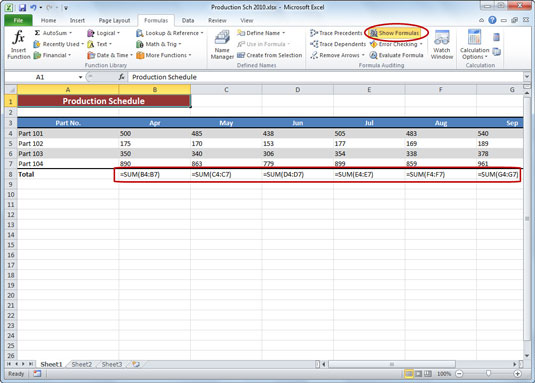 How to Print Formulas in an Excel 2010 Worksheet - dummies