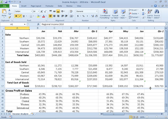 A worksheet in a horizontally split worksheet window after scrolling down in the lower pane.