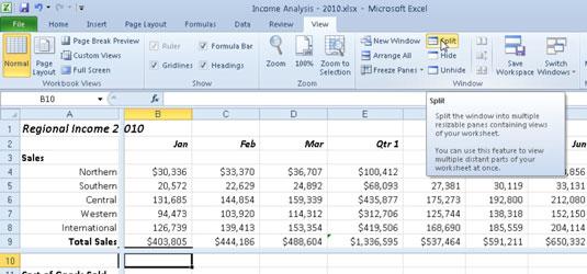 How to Split an Excel 2010 Worksheet Window - dummies