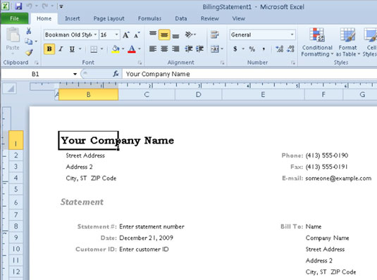 A new billing statement worksheet generated from the Billing Statement template.