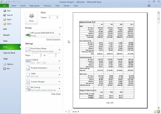 Specify what parts of the workbook to print in the Print panel in Excel's Backstage view.