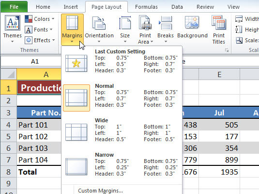 Excel 2010 Provides A Few Margin Presets On The Margins Drop Down Menu