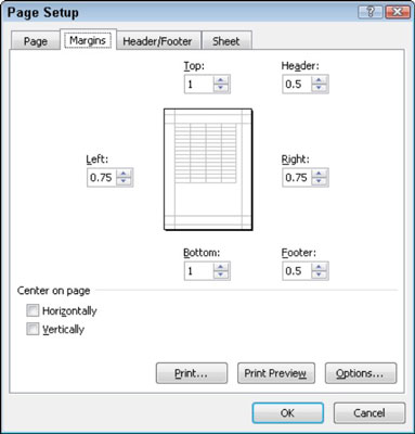 Adjust your report margins from the Margins tab in the Page Setup dialog box.