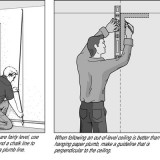 If an out-of-level ceiling calls for it, you can establish an out-of-plumb vertical guideline.