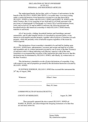 Declaration of Trust Ownership as to all personal and household articles.