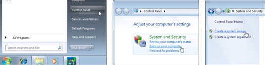 The Steps to Create a System Image on Windows.