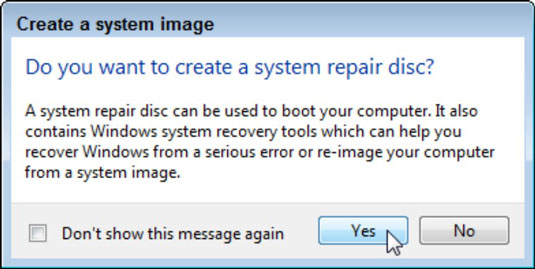 The Windows system asks if you want to create a system repair disk.