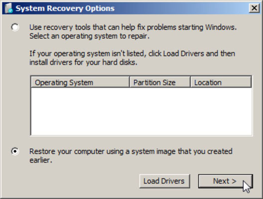 The second screen in the system recovery options window.