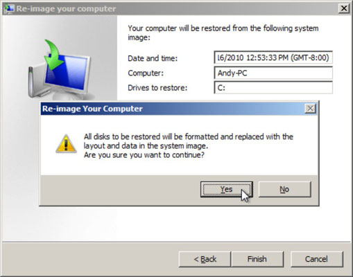 The final re-image your computer dialog box confirms you want to restore your computer.