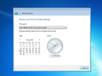 Setting the time and date on a Windows 7 computer.