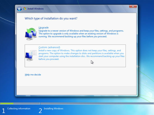 How to Install Windows 7 over Windows XP or on an Empty Hard