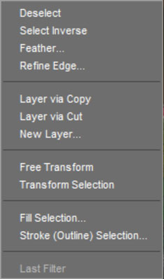 A contextual menu for selections.