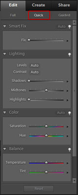 Choose Quick on the Edit tab to switch to Edit Quick mode.