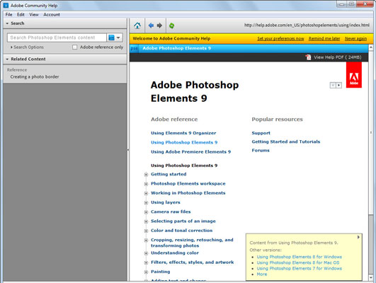 You can search for Help topics within Photoshop Elements 9.
