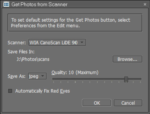 Make choices in the Get Photos from Scanner dialog box and click OK.
