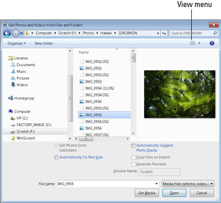 The Get Photos and Videos from Files and Folders dialog box.