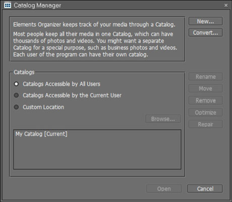 Choose File-->Catalog to open the Catalog Manager dialog box.